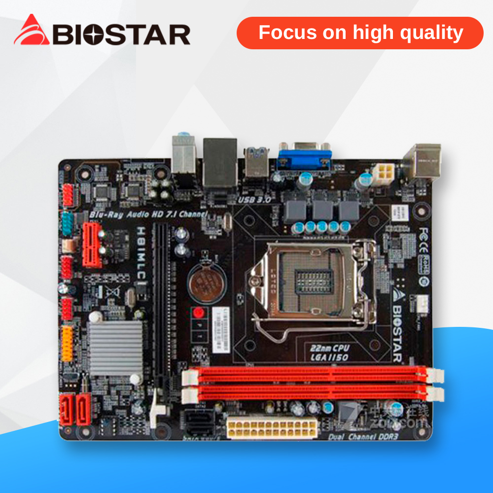 BIOSTAR H81MLC Original Used Desktop Motherboard H81 LGA 1150 DDR3 16G SATA3 USB3.0 Micro ATX original used desktop motherboard for asus p5ql pro p43 support lga7756 ddr2 support 16g 6 sata ii usb2 0 atx