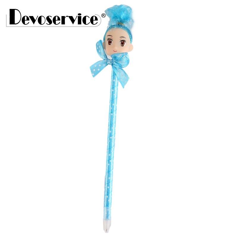 2 шт./упак. творческий милый ребенок глава Шариковая ручка новинка бантом плюшевые куклы ручка тонкость 0,5 мм канцелярские школы поставки