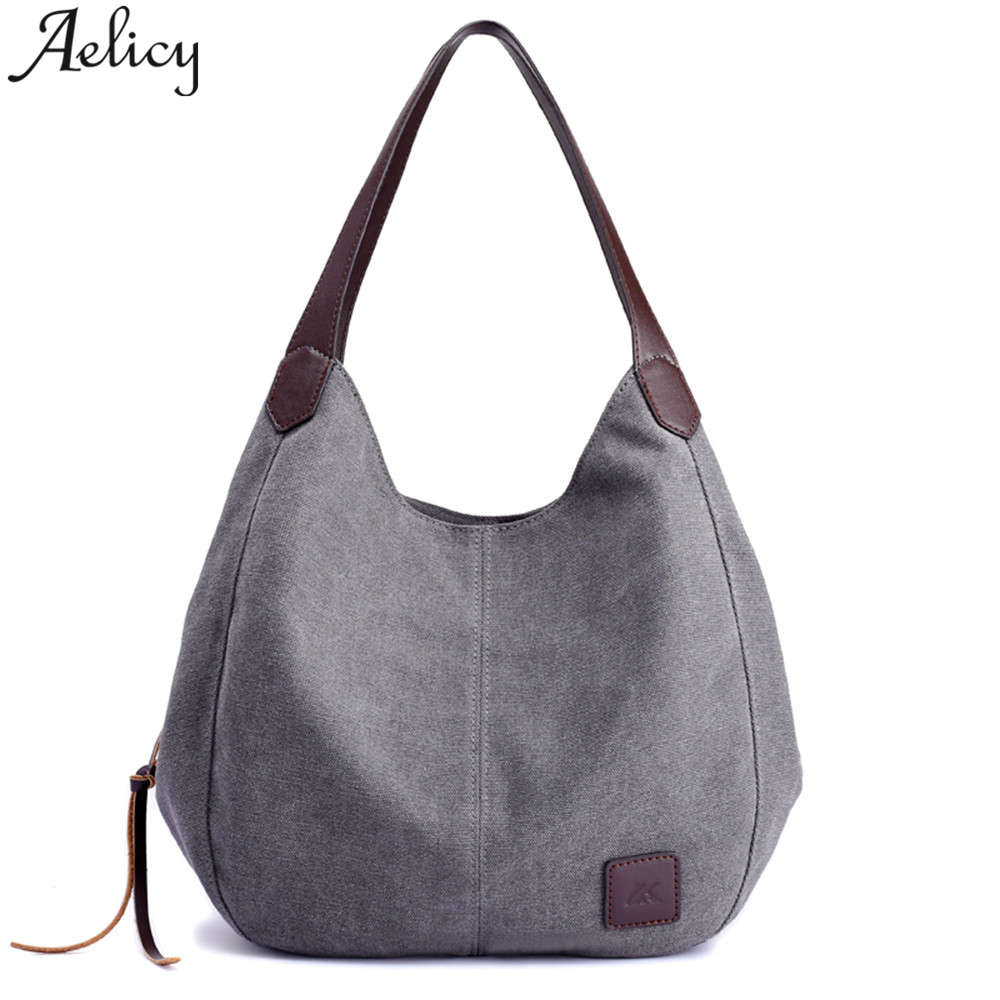Women\'S Canvas Handbags Solid Multi-Pocket Ladies Totes Hobos Single Shoulder Bags Vintage