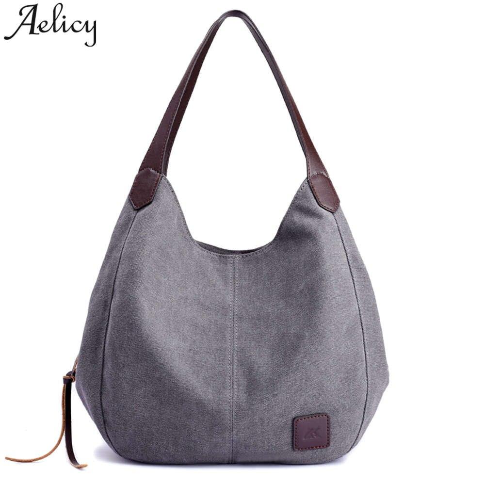 Aggressiv Aelicy Marke Frauen Leinwand Handtaschen Solide Multi-tasche Damen Totes Hohe Qualität Weibliche Hobos Einzelnen Schulter Taschen Vintage Gepäck & Taschen