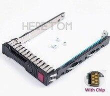 2.5 Sas Sata Hdd Caddy Bracket 651687 001 Voor Hp G8 Gen8 Gen9 G9 DL380 DL360 DL160 DL385 2.5 Inch Server Lade Met Chip