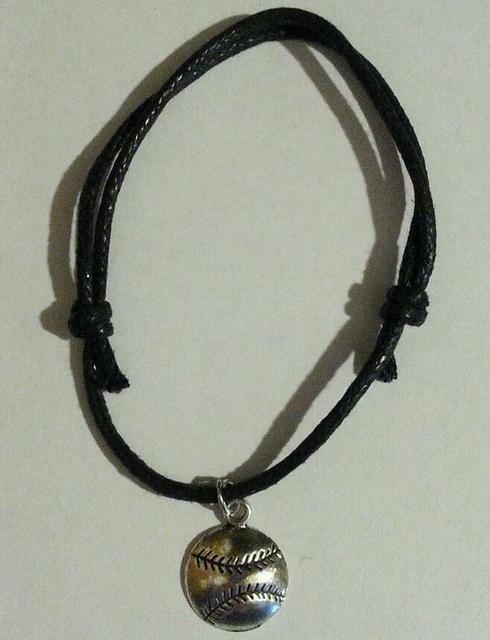 Vintage Silver Baseball Softball Charms Cuff Bracelet Black Rope Adjule Anklets Bracelets Jewelry Women Accessories