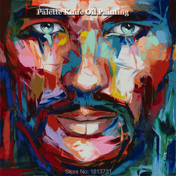 Hand painted Francoise Nielly Palette knife portrait Face Oil painting Character figure canva wall Art picture13-9