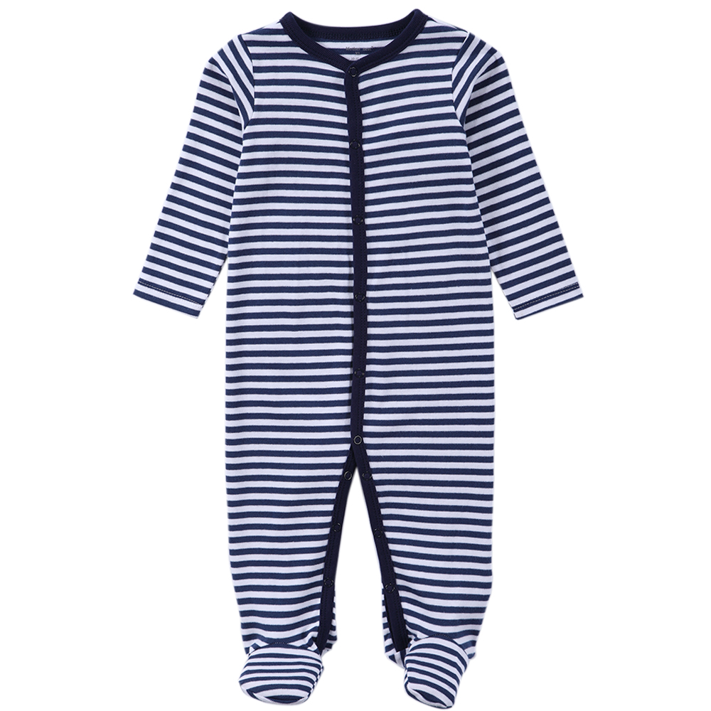 Brand Baby Boy Footie Jumpsuit Cotton Overall Stripes Prints 100% Cotton Newborn Baby Clothes One Piece Play Suits for Boys Pjs