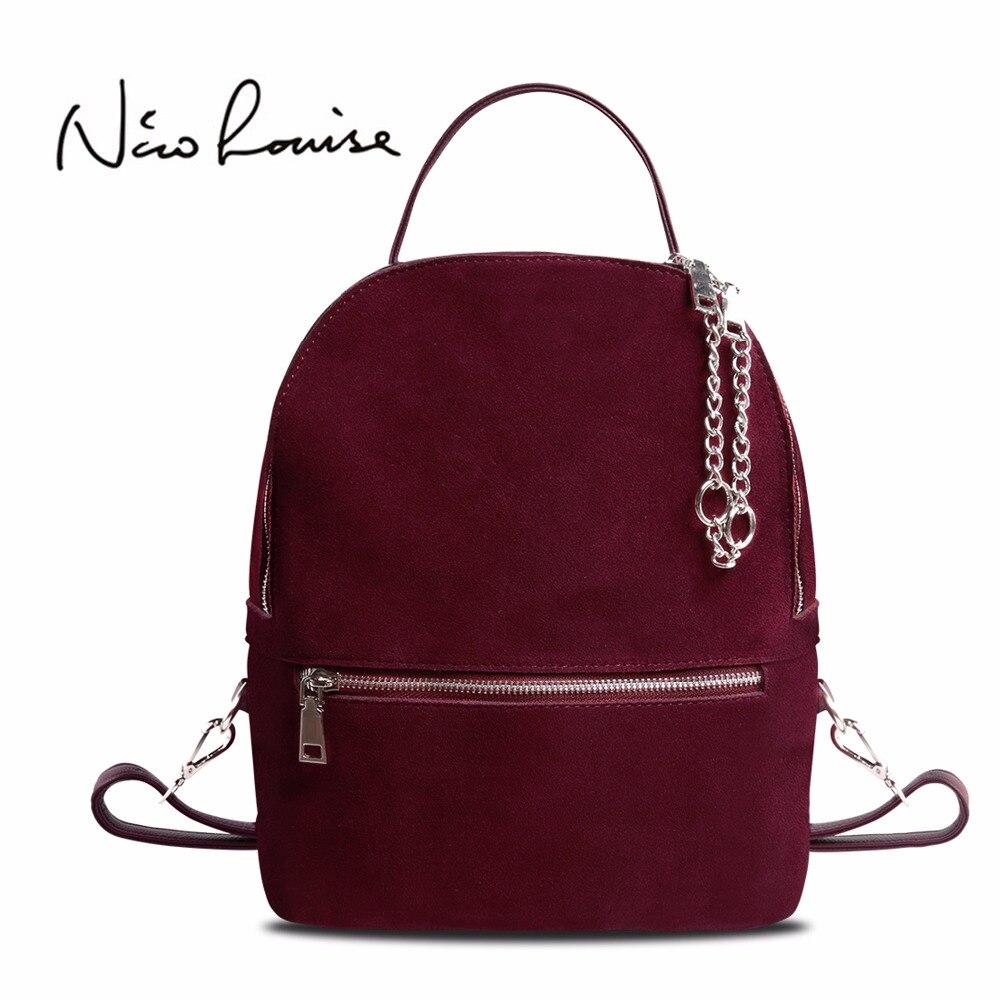 2018 для женщин из натуральной замши кожаный рюкзак женский повседневное для отдыха на молнии цепи нубук дорожная школьная сумка подростк