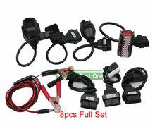 Высококачественные автомобильные кабели OBD2, полный комплект, 8 автомобильных кабелей OBD II, адаптер, кабель преобразователя для диагностичес...