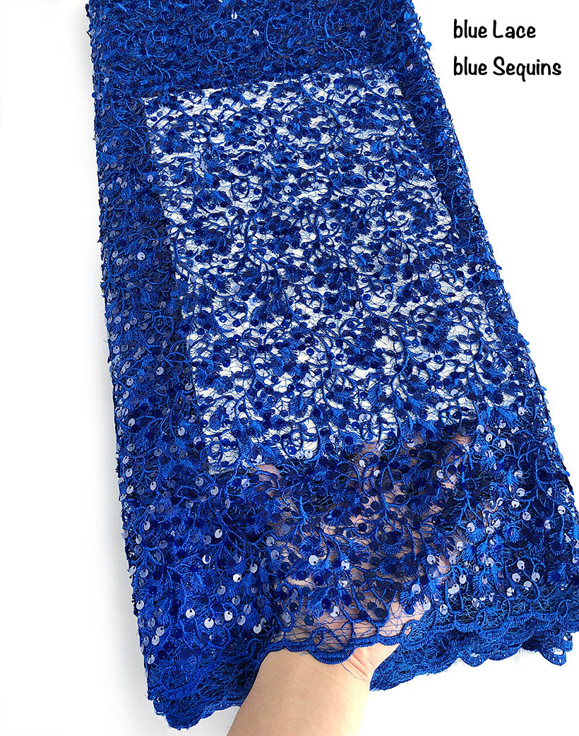 pure blue complicated embroidery African Guipure Lace mix French lace fabric unique soft shiny allover small sequins 5 yardspure blue complicated embroidery African Guipure Lace mix French lace fabric unique soft shiny allover small sequins 5 yards