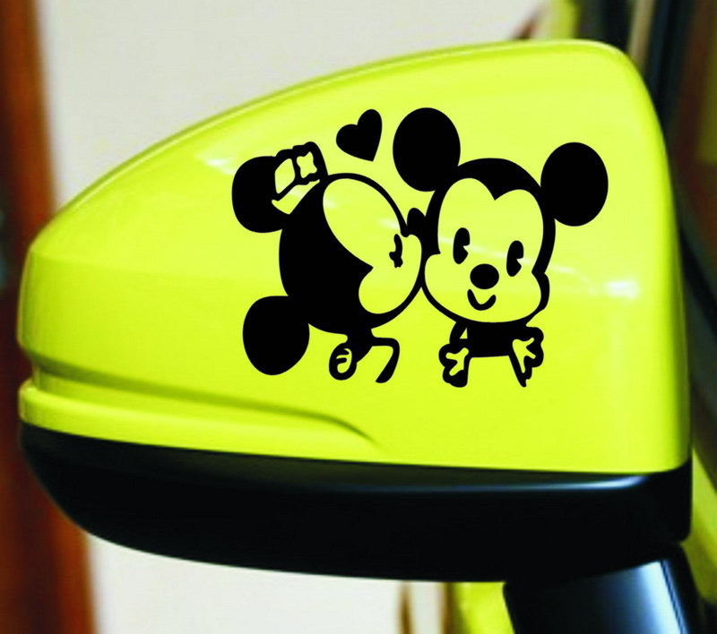 2Pcs Cute Black White Lovers Mickey Mouse Minnie Car Stickers for Car Rearview Mirror Waterproof Car Decor Decal Vinyl Stickers