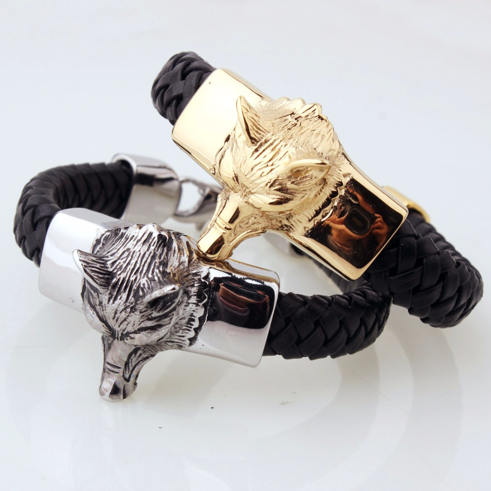Top Quality Classic Black Leather Chain Bracelet Handsome Silver Gold Color Wolf Head Men's Stainless Steel Bracelet Jewelry
