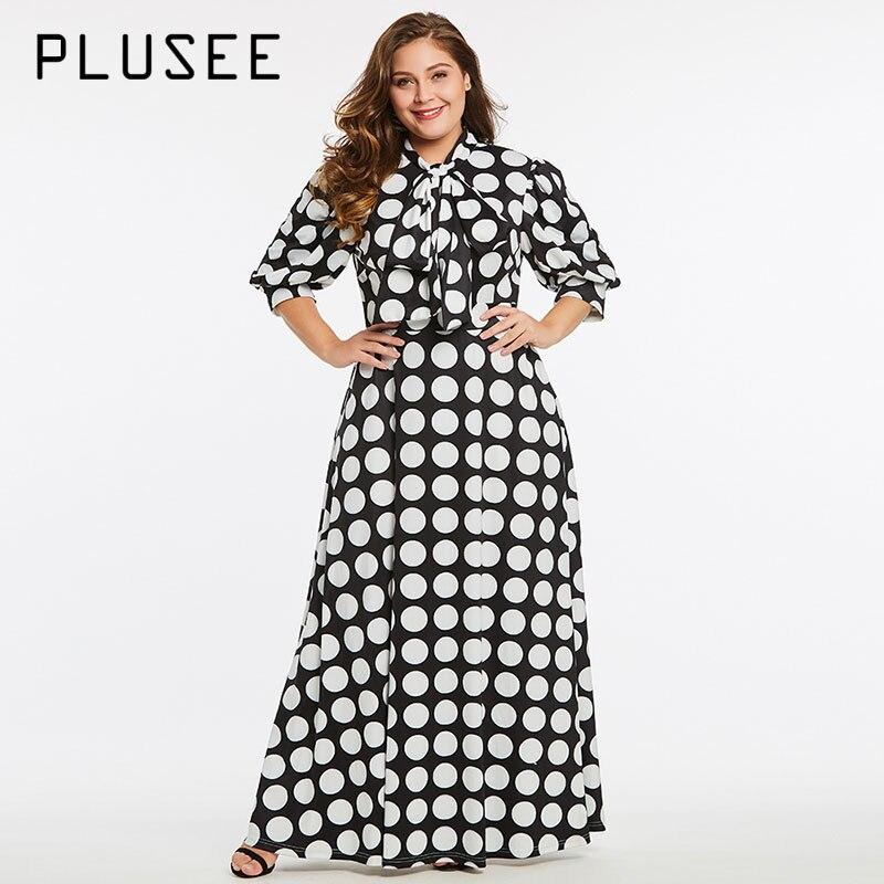 Plusee Dress Plus Size 3XL 4XL Women Expansion Lantern Sleeve Zipper Polka Dots Color Block Bowknot Plus Size Dress
