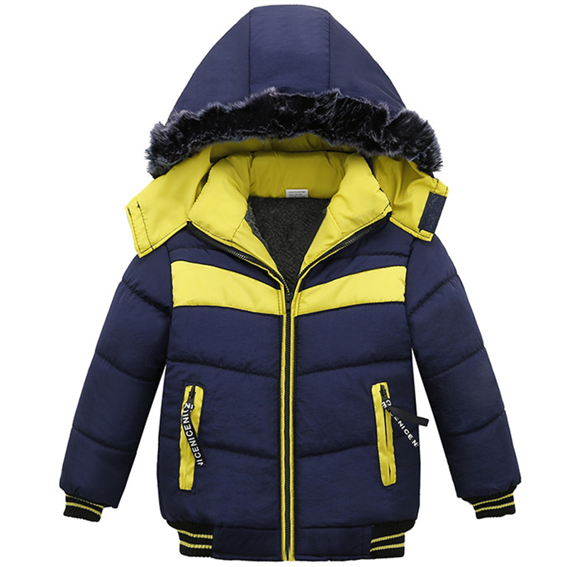 Winter Jacket For Boys Baby Fur Hooded Jacket Parkas Kids Clothes Snowsuit Outerwear Children Warm Coat Clothing Infant Jacket цена