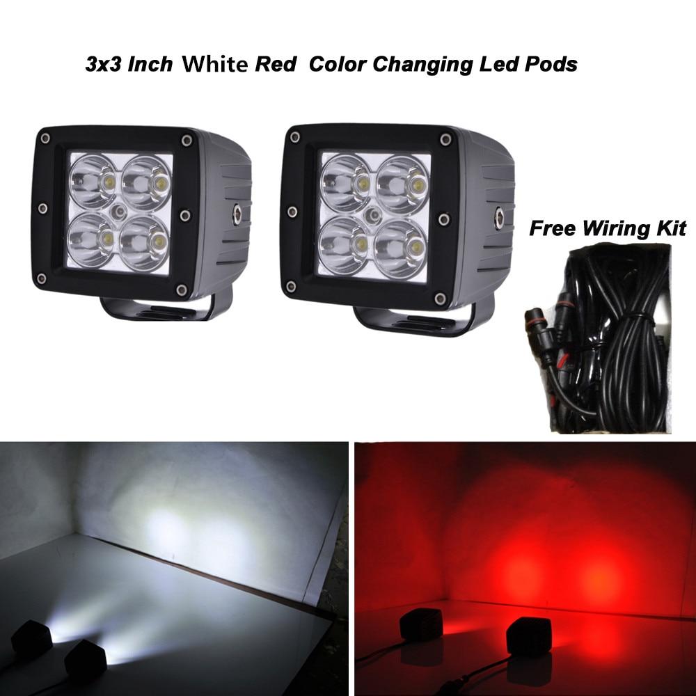 Honzdda 24w 2400lm White Red LED Work Light 12V Led Emergency Light Car For Offroad Free Wire Harness 4x4 Truck Suv ATV Light