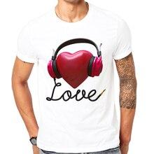 High quality custom t-shirt 2017 Summer T shirt Men Tops Tees Short Sleeve Listen to love Print Tshirt Funny T-shirt man Clothes