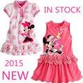 2015 Nuevas Muchachas de la llegada Vestido de la historieta de Minnie Polka Dot Arco chaleco de manga corta vestido casual y cómodo 100% algodón bebé de las muchachas