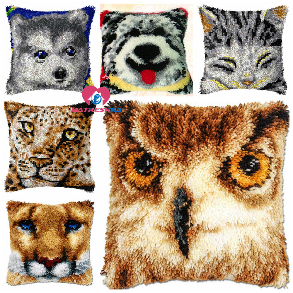 Dropshipping Latch Hook kits Pillow animal face Diy Handmade Printed Canvas Cushion Latch Hook Kits Unfinished accessories 43x43