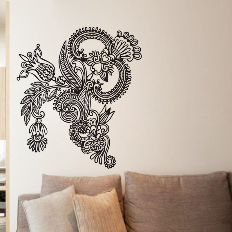 Mehndi Wall Decoration : Ehome mehndi wall stickers design indian floral mandala