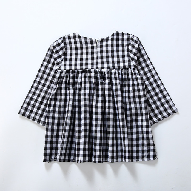 1d1f4d6c6fd7 Hooyi Girl Jumpers Long Sleeve Fashion Plaid Baby Girl Dress Black ...
