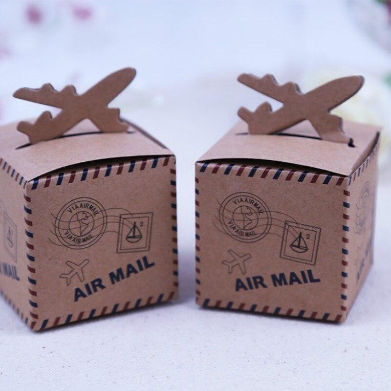50pcs Kraft Paper Airplane Candy Box Wedding Travel Theme Decoration Baby Shower Souvenirs Party Favors Gift Box