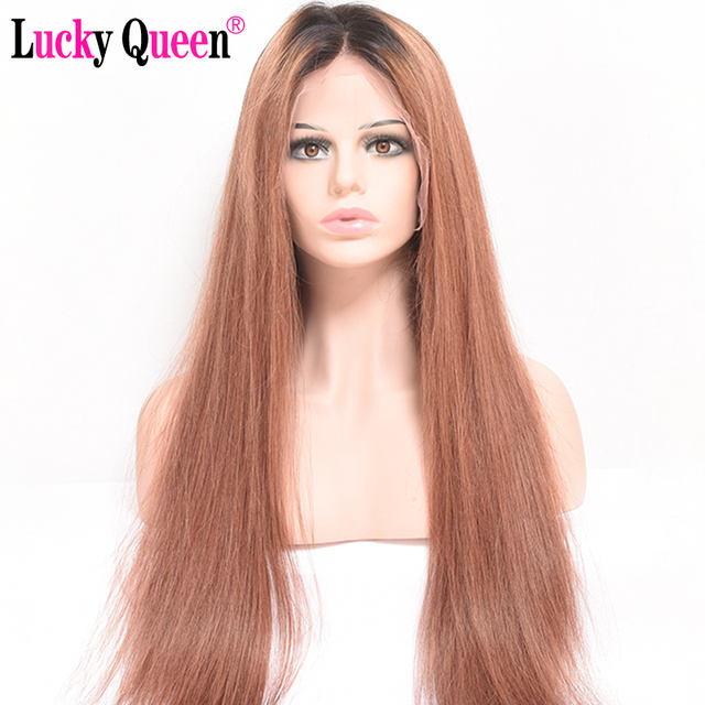 Lucky Queen 13x6 Lace Front Human Hair Wigs Brazilian Straight Lace Front Wig With Baby Hair 1B-30 Ombre Brown Remy Pre Plucked