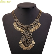 Diomedes Newest Creative Classic Women Bohemian Festival Jewelry Double Chain Coin Statement Necklace