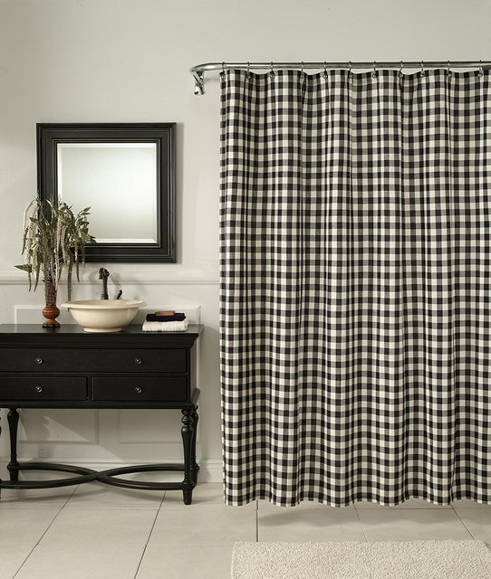 Memory Home Classic Check Fabric Polyester Bathroom Shower Curtain ...