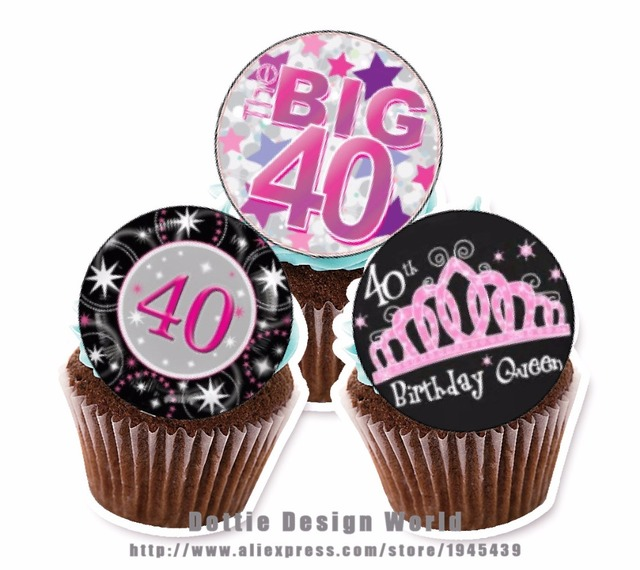 24 Adult 40th Birthday Edible cake topper wafer rice paper Cake ...