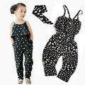 Новое прибытие девушки Комбинезон одежда дети девочка жгут форме сердца кусок хлопка комплект одежды лета малышей Комбинезон одежда