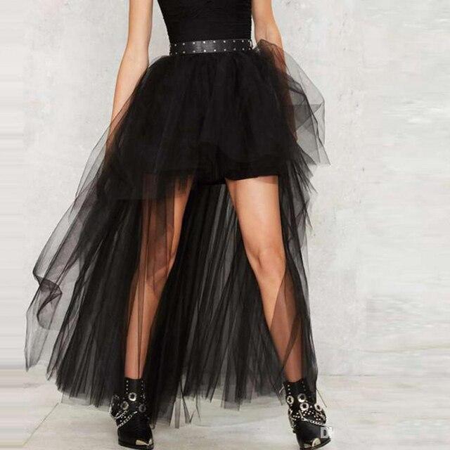 481ae95b61dc5b Mode Hoge Lage Zwarte Tule Rok Hoge Taille Hippie Gothic Lange Rokken  Vrouwen Tutu Saia Lolita