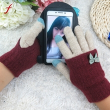 Women Multi-function Knitted Screen  Winter Gloves Soft Warm Mitten for iPhone Smartphones Laptop Tablet Touch phone gloves 2017