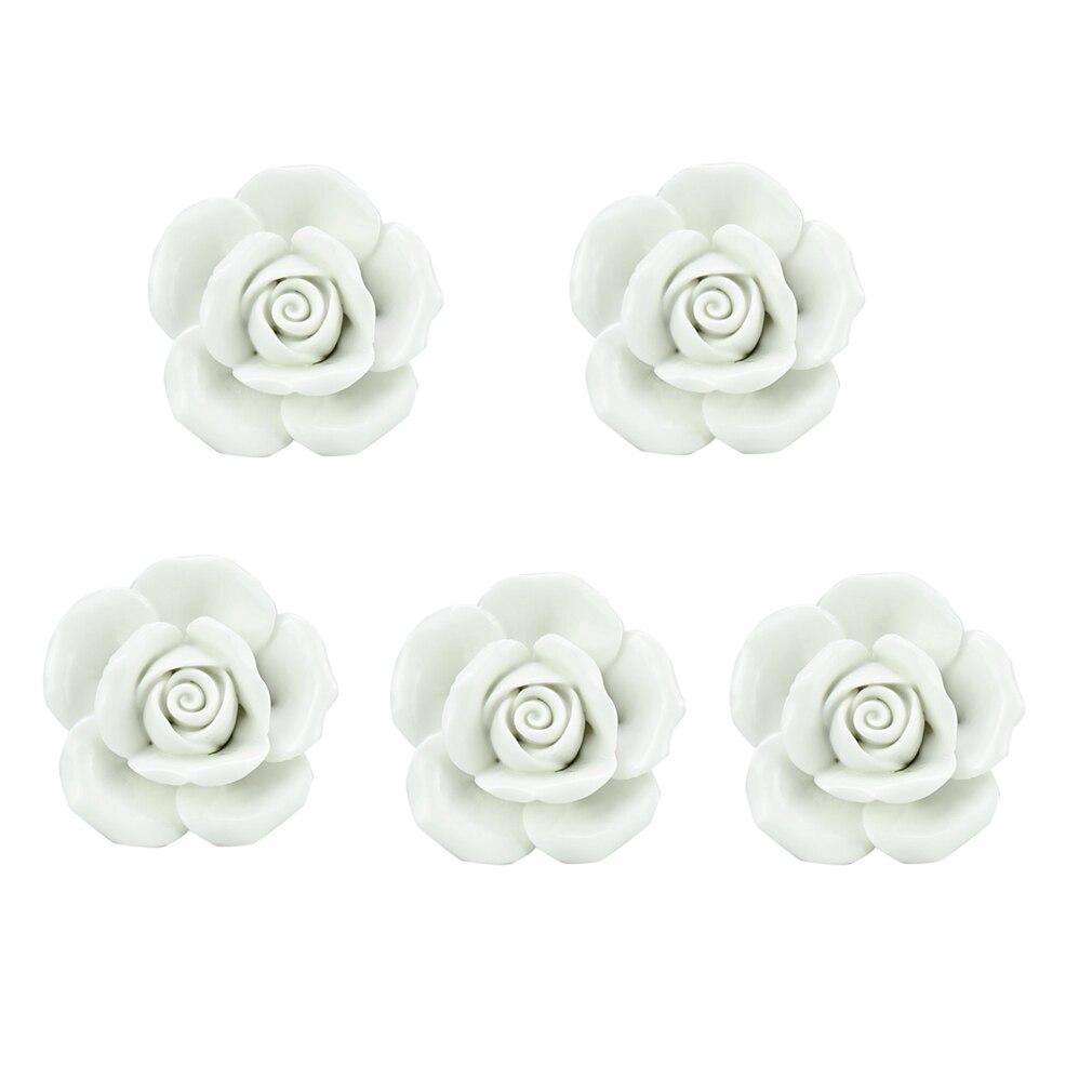 Drawer Knob Furniture Handles White Ceramic Rose Knob 5 Piece