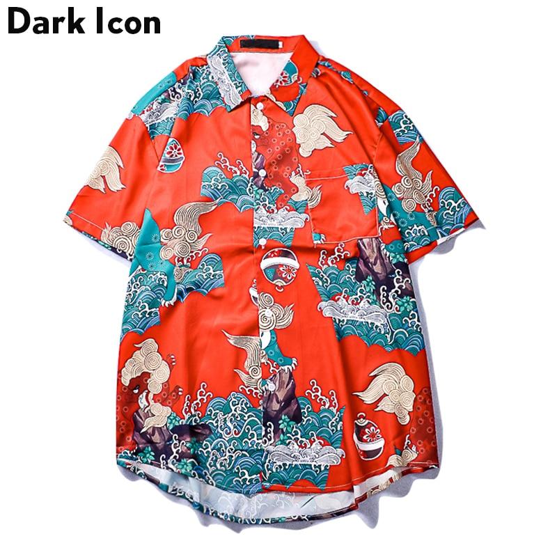 Dark Icon Chinese Traditional Printed Men's Shirt Short Sleeve Hip Hop Shirts Men Red Shirt For Men
