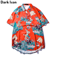 Dark Icon Chinese Traditional Printed Mens Shirt Short Sleeve Hip Hop Shirts Men Red for