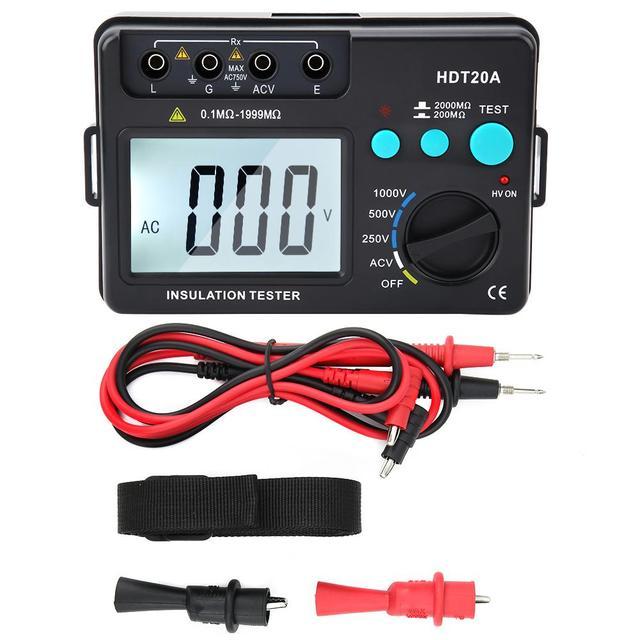 AC 2KV 50Hz LCD Display Insulation Resistance Tester Meter Voltmeter 1000V 1999 Counts Insulation Resistance Tester HDT20A