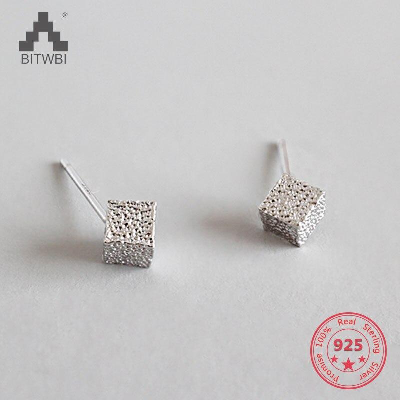 100% QualitäT 925 Sterling Splitter Tiny Cube Ohrringe Frauen Dainty Platz Kleine Ohrringe Nette Mini Minimalistischen Ohrringe Mädchen