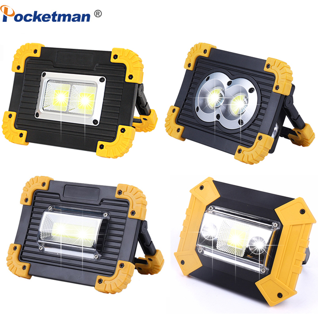 Portable LED Spotlight 30000LM Powerful Work Light Waterproof Work Lamp Rechargeable 4 Types for Outdoor Camping Working 18650