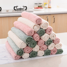 1pc Household Kitchen Towels Scallop Coral Pile Thickening Microfiber Double Wash Towel Water Absorbent Hand Cleaning Cloth Rag 1pcs nonstick oil coral velvet hanging hand towels kitchen bathroom dishclout easy to clean wash cloth magic cleaning cloth