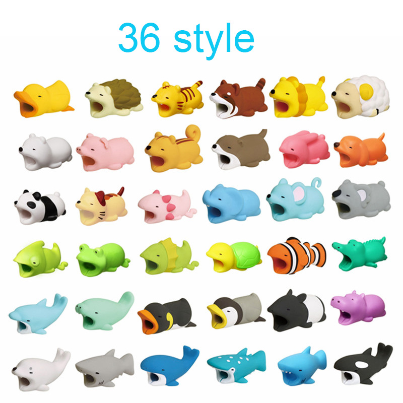 Kawaii Animal Cable Protector Bite For Iphone Ipad Cable Winder Panda Phone Holder Accessory Organizer Doll Model Funny