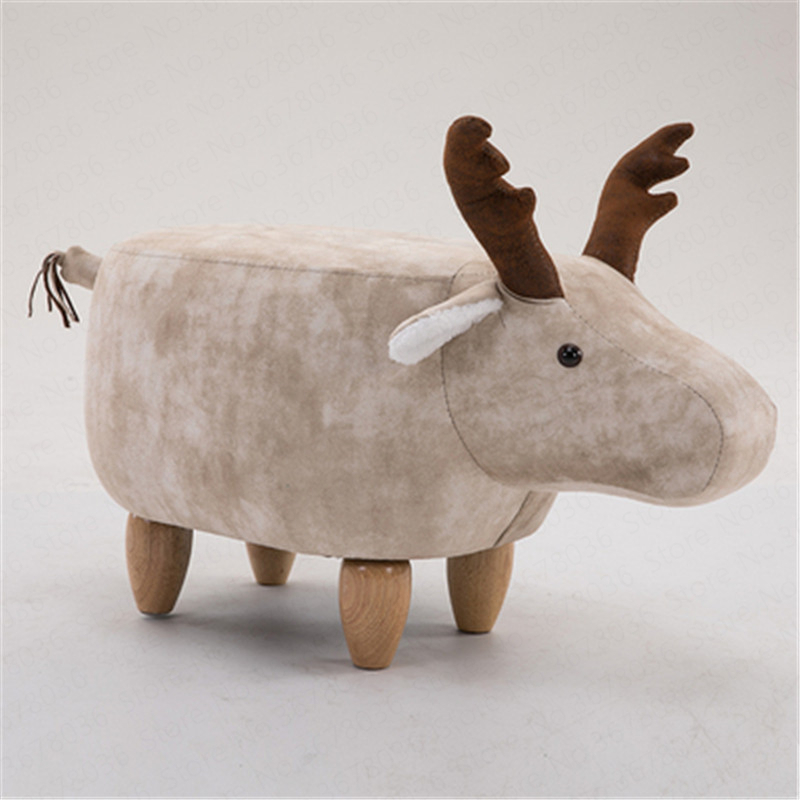 Nordic Wood Deer Animal Change Shoes Storage Stool Low Sofa Stool Children Gift Creative Solid Wood Taburete Animales Child
