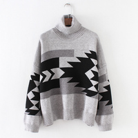 Youg Pullover Top Limited Full Poncho Winter All Match Turn Down Collar Sweaters Loose Sweater Geometric