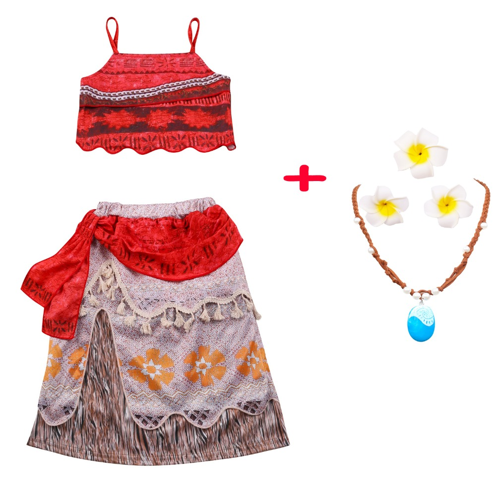 Princess Moana Cosplay Costume For Children Vaiana Moana Costume With Necklace Halloween Costumes For Kids Baby Girls Gift ...