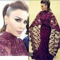 Púrpura Con Cuentas de Encaje Sirena Larga Dubai Vestidos de Noche Con Mantón 2017 Dubai Árabes Vestidos de Noche Formal de Los Vestidos robe de soirée