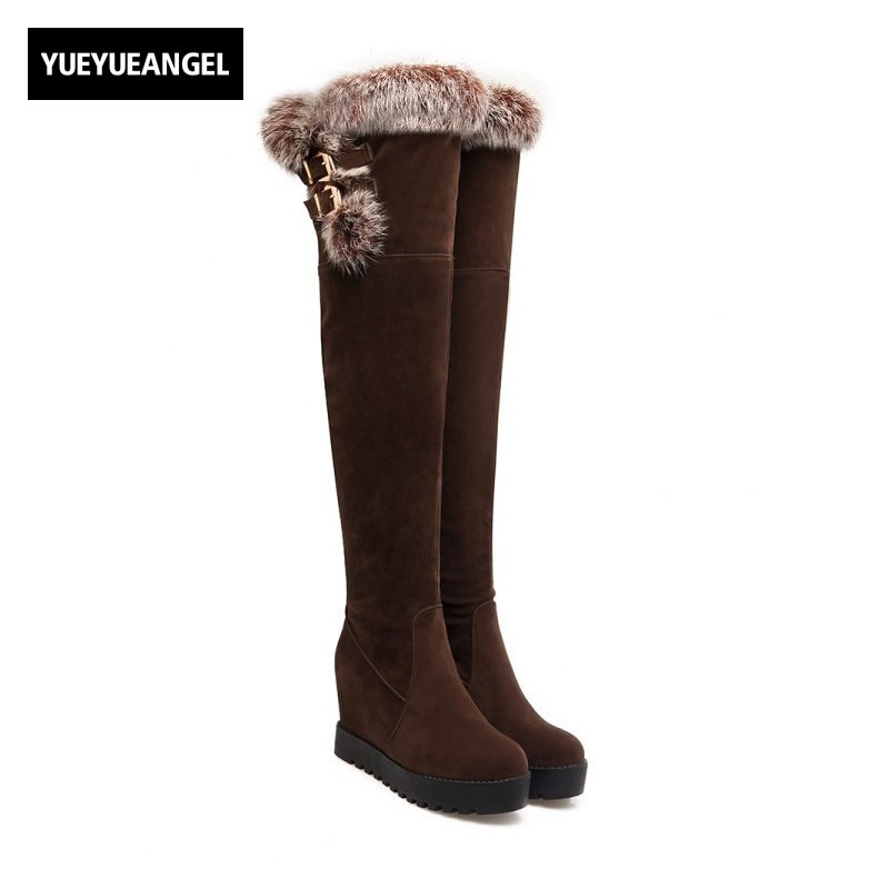 Hot Sale Fashion Women Over The Knee Boots Round Toe Slip On For Women Snow Boots Warm Plush Ladies Winter Platform Shoes Black best selling top quality women hidden wedge winter warm snow boots plush inside platform round toe motorcycle boots shoes