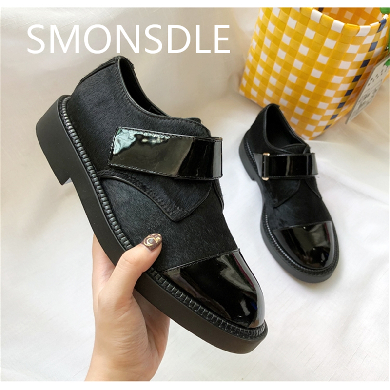 2018 New Spring Autumn Shoes Woman Casual Flats Genuine Leather Horse Hair Women Shoes Hook & Loop Chic Flats Black Lady Shoes cangma original newest woman s shoes mid fashion autumn brown genuine leather sneakers women deluxe casual shoes lady flats
