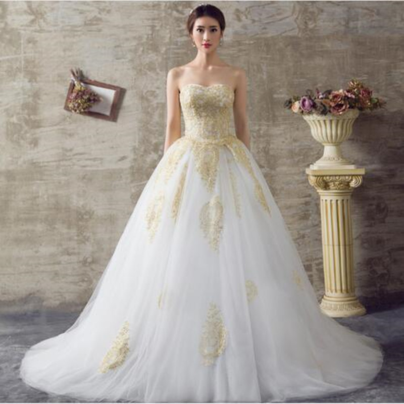 Popular gold wedding dress buy cheap gold wedding dress for White and gold wedding dresses