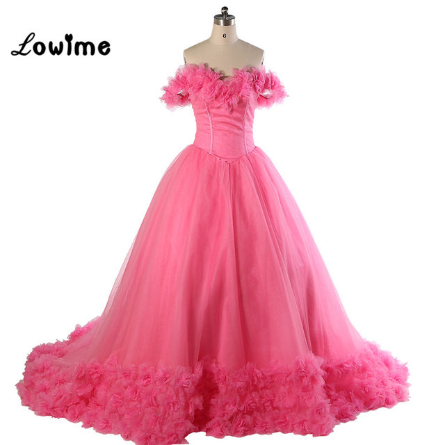 Online Shop Ball Gown Wedding Dress With Pink Flowers Long Train