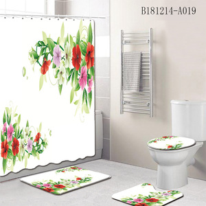 Image 5 - 4Pcs/Set Elegant Flowers Pattern Shower Curtain Mat Set Non Slip Rugs Carpet for Bathroom Toilet Bath