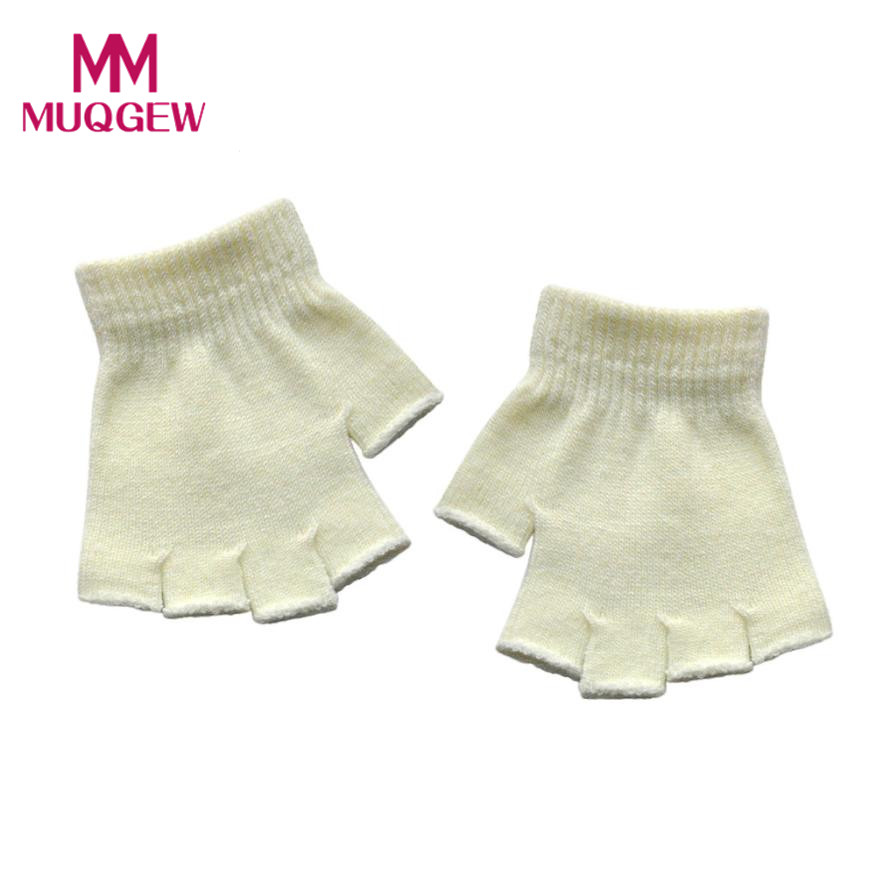 Hot sale winter childrens gloves Solid Half Finger Fingerless Infant Baby Girls Boys Warm Gloves lowest price gants enfant