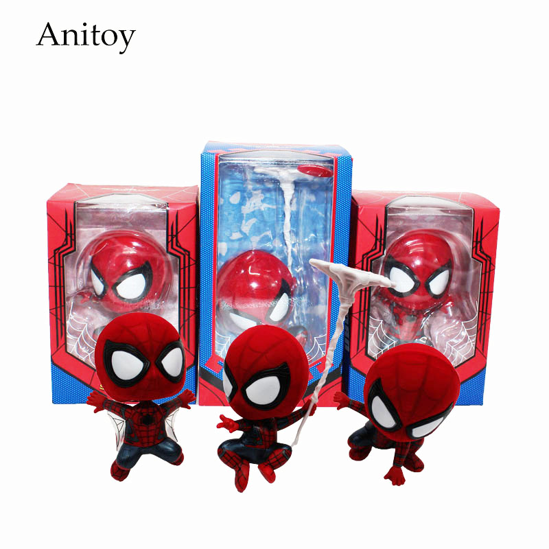 Anime Cartoon Marvel Spider-Man Spiderman Mini Spider Man Doll PVC Action Figure Collectible Toy 8-14cm KT4172 10cm spider man japanese anime lovely swing doll cute black panther mobile phone holder shaking head action