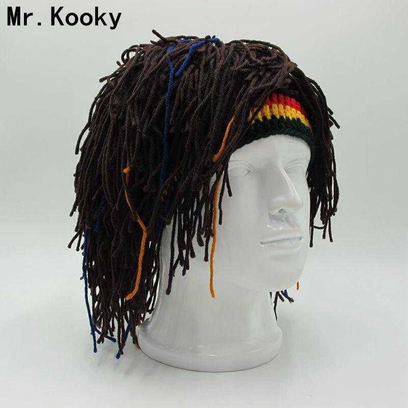 e3244ac37003e Mr.Kooky Rasta Wig Beanie Men s Caps Handmade Crochet Winter Warm Hat Gorro  Halloween Xmas Birthday Gifts Funny Party Balaclava