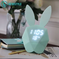 Cute Rabbit Bunny Music Alarm Clock LED Night Light Rechargeable Table Wall Clocks Night Lamp For